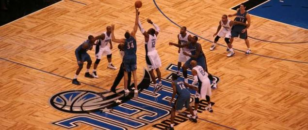 Opening tip-off at Amway Center for a regular season NBA game of the Orlando Magic.