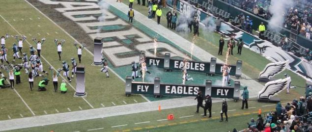Eagles coming onto the field to host the Dallas Cowboys in a 2017 divisional game.