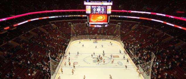 Wells Fargo Center prior to a Flyers game, 3/22/09.
