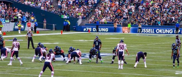 Seattle Seahawks on offense at Century Link Stadium vs Chicago Bears, 22 August 2014.