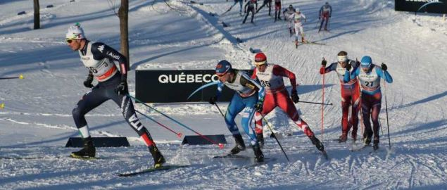 Skiers in the 2016 Ski Tour Canada , Quebec city.