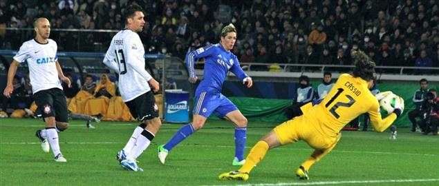 Fernando Torres kick saved by Cassio at 2012 FIFA Club World Cup