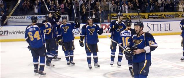 St Louis Blues celebrating after a 9-3 victory over the Ducks, 2/19/2011.