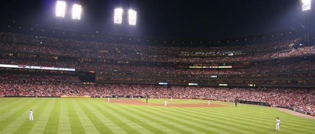 Cardinals Busch Stadium, a fan's view of the outfield during a night game. 7/11/09.