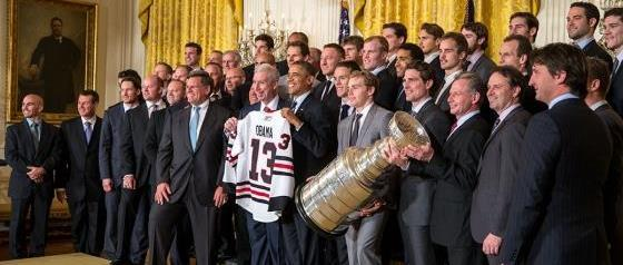 President Barack Obama hosts the Stanley Cup Champion Chicago Blackhawks in the East Room