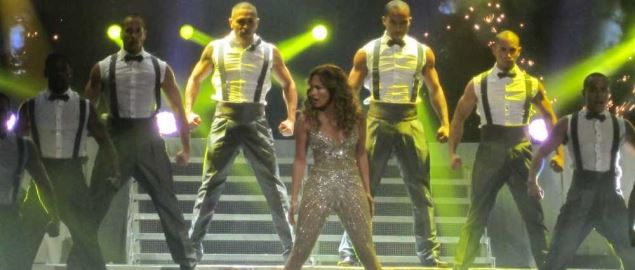 Jennifer Lopez performing on the Dance Again world tour, 2012.