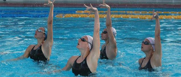 Russian world champion synchronized swimming team training for the European championship