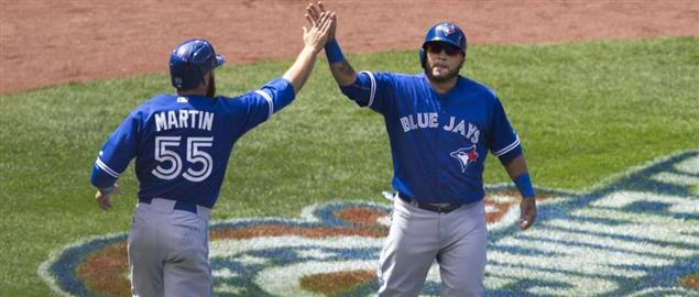 Russell Martin and Dioner Navarro of the Toronto Blue Jays, 4/12/15.