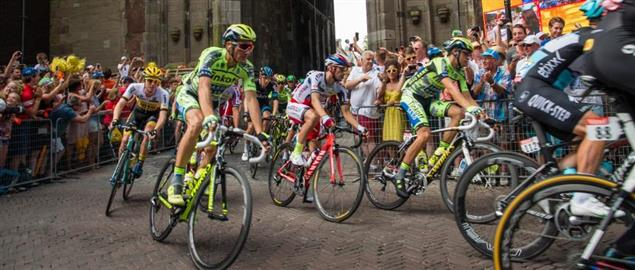 Second stage of the 2015 Tour de France - the cyclists pass under the Dom Tower in Utrech