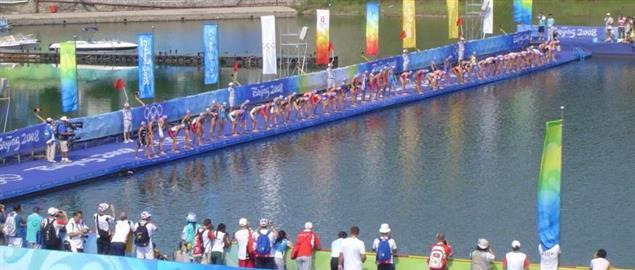 The swimming start of the women's triathlon at the 2008 Summer Olympics.