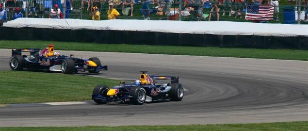 Christian Klien leads David Coulthard on the formation lap at the 2006 United States Grand