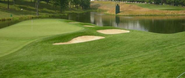 The 18th green of the Congressional Country Club's Blue Course, site of the 2011 US Open.