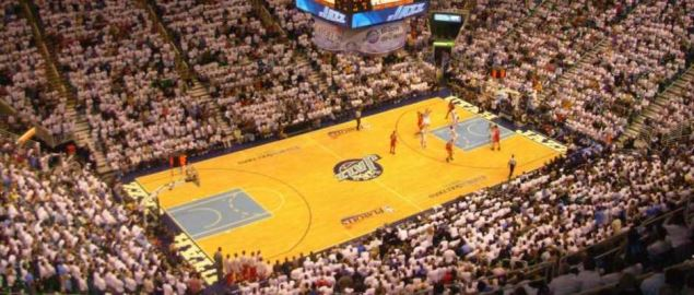 Utah Jazz hosting a 2008 NBA Playoffs game at Energy Solutions Arena.