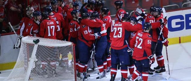 Washington Capitals celebrating after beating NY Rangers during the playoffs, 4/28/09.